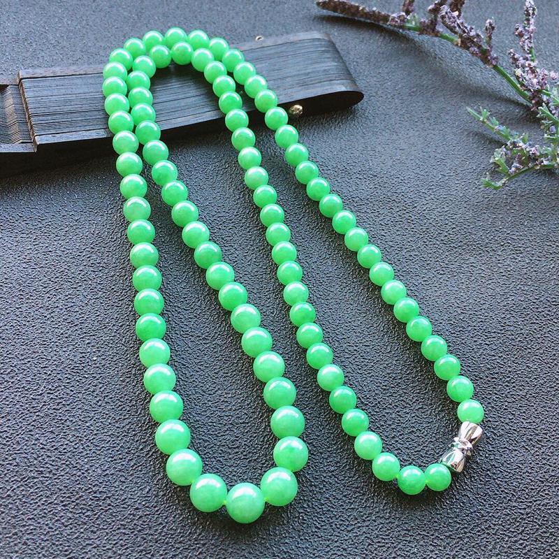 精品翡翠项链,雕工精美,玉质莹润,尺寸:链长:540MM,玉:7MM,总质量:34.7g