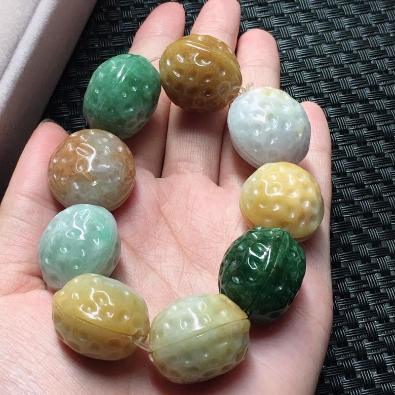 缅甸翡翠多彩核桃手串,自然光实拍,颜色漂亮,玉质莹润,佩戴佳品,单颗尺寸:17.3mm,重137.3