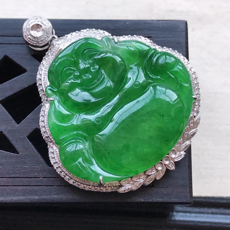 天然翡翠A货18K金镶嵌伴钻细糯种满绿精美佛公吊坠,含金尺寸36.9-30.5