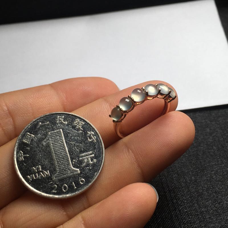 【18K金拼镶冰种起光蛋面戒指,颗颗完美饱满,裸石尺寸:4*3.7*2.2mm,整体尺寸:20.7*4*4.3mm,指圈:11号(下单前请先咨询)】图9