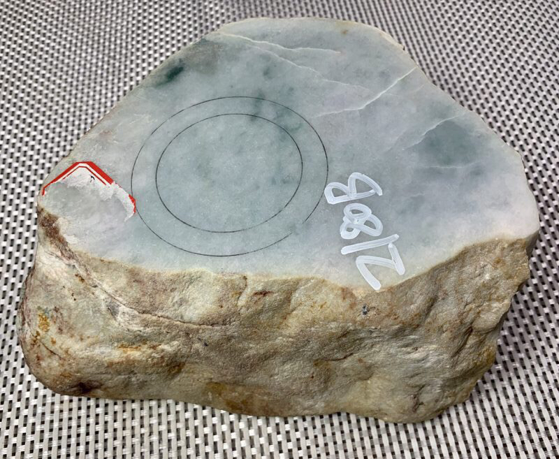 #免费切石解石加工手镯##【名称】6公斤木那手镯改口料。 【重量】6公斤【尺寸】 180*160*1