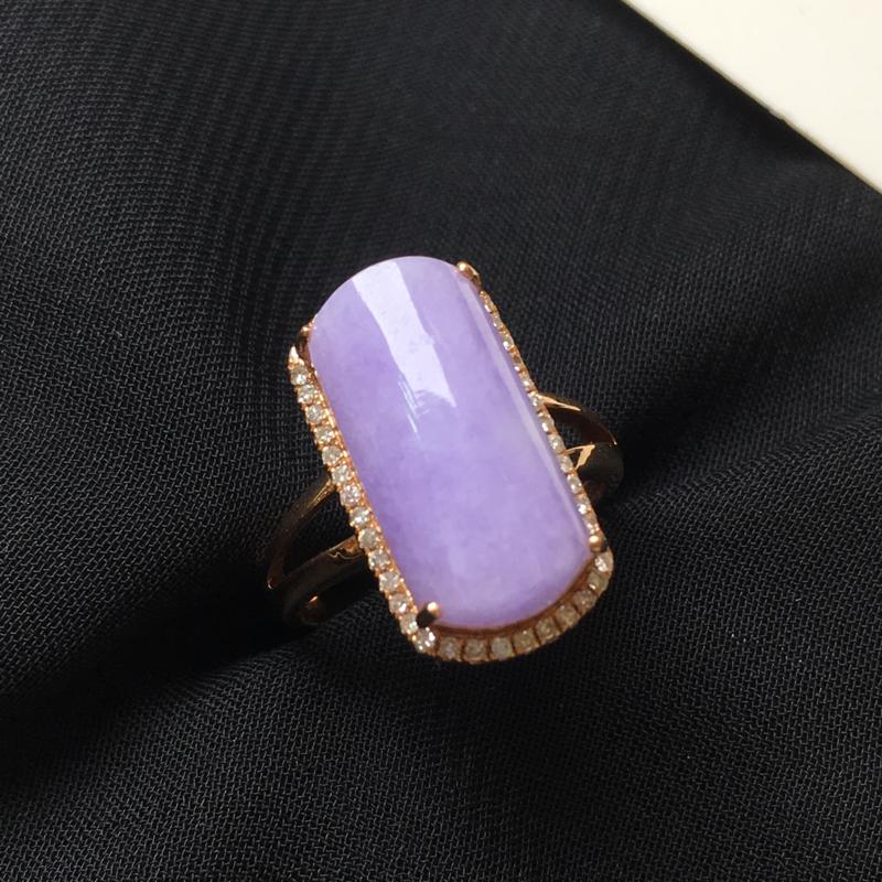 紫罗兰马鞍戒指💍,18k金伴钻镶
