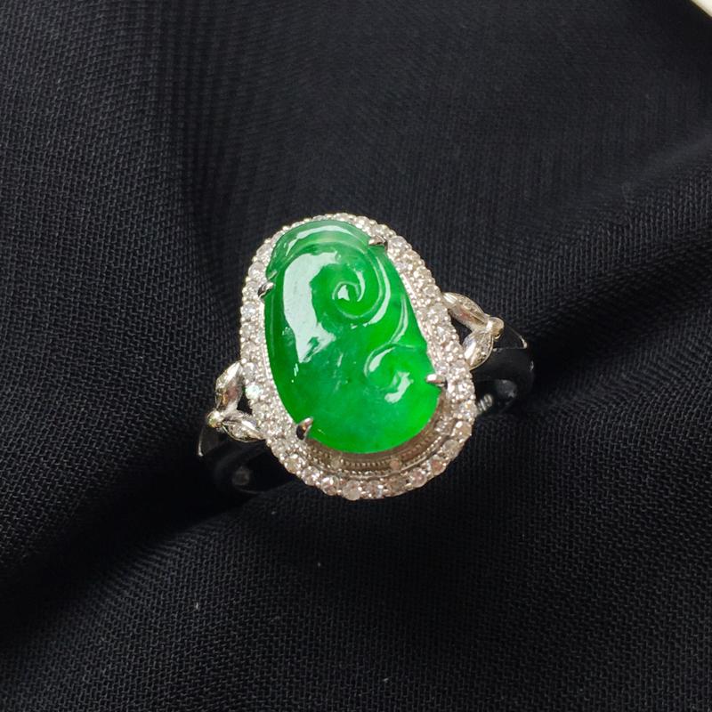 满绿如意戒指💍,18k金伴钻