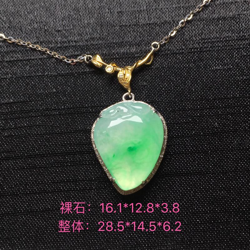 【飘绿寿桃锁骨链吊坠,18k金伴钻,种水一流,佩戴精美,性价比高###】图10