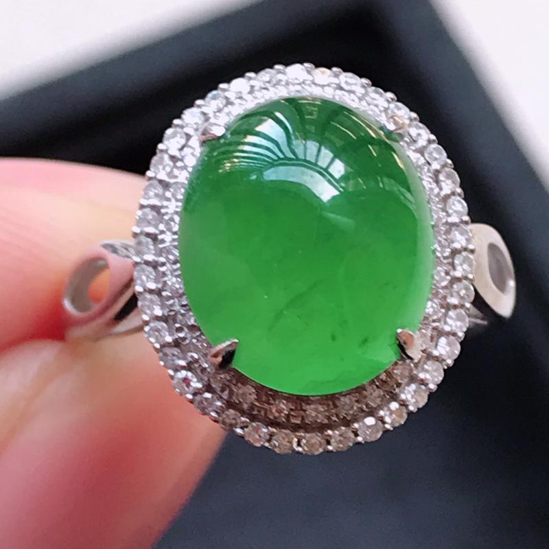 1130,18k精雕完美好种晴绿戒指,裸石尺寸 :  11.3*9.2*3.5,镶金尺寸:15.3*