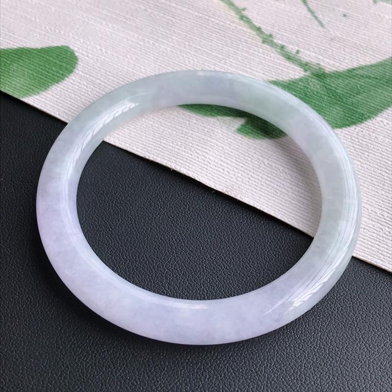 圈口53-54mm天然翡翠A货老坑糯化种紫罗兰圆条手镯,圈口:53.3×7.5mm,料子细腻,水头好
