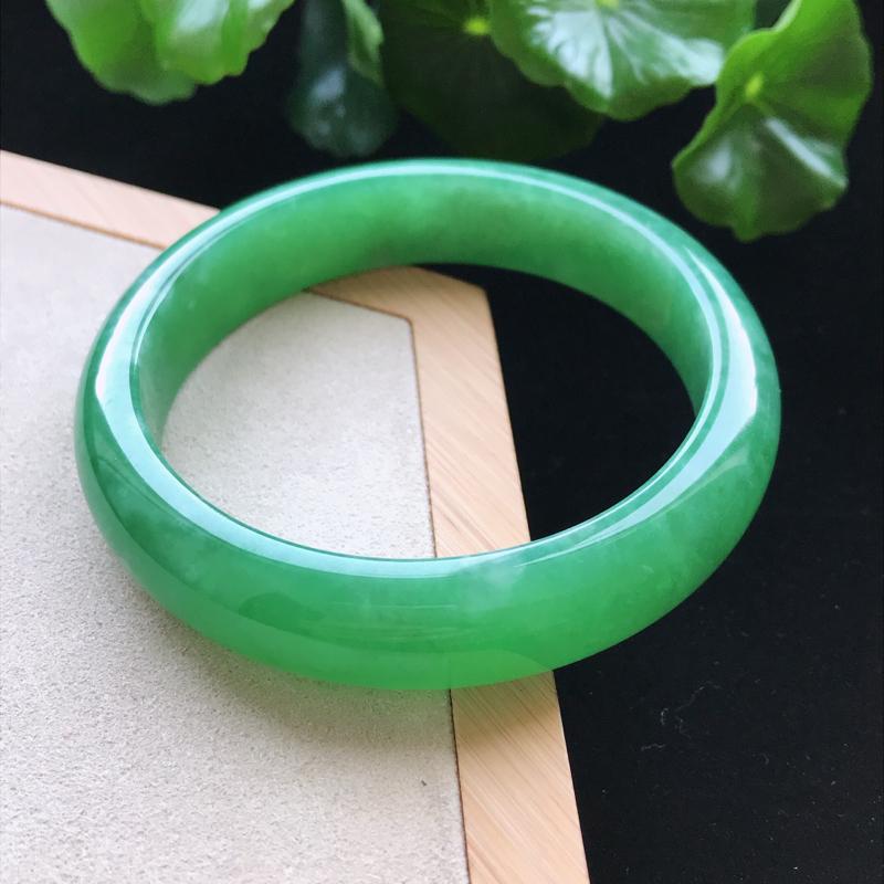 【原价7.5万元,活动价6.5万元】*天然翡翠A货糯化种满绿正圈手镯,尺寸58-1