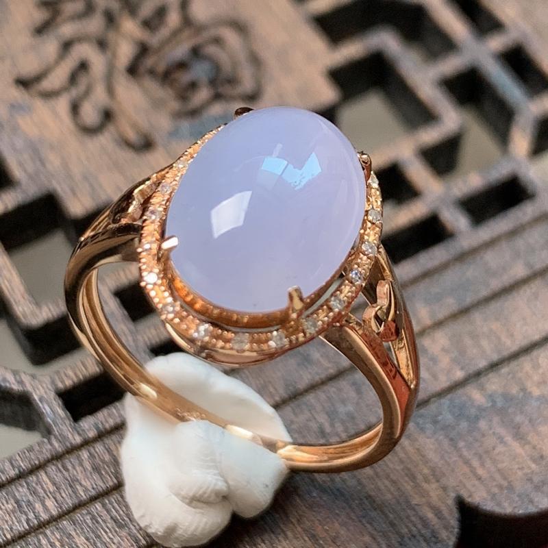 缅甸a货翡翠,18k金伴钻紫罗兰戒指,玉质细腻,颜色艳丽,有种有色,佩戴效果更佳,整体14_10.5