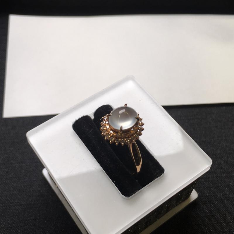 【18K金钻石镶嵌高冰种戒指,实物完美起光,裸石尺寸:7.6*6.5*3.5mm,整体尺寸:10.8*11.6*9.3mm,指圈12.5(下单前请先咨询)】图2