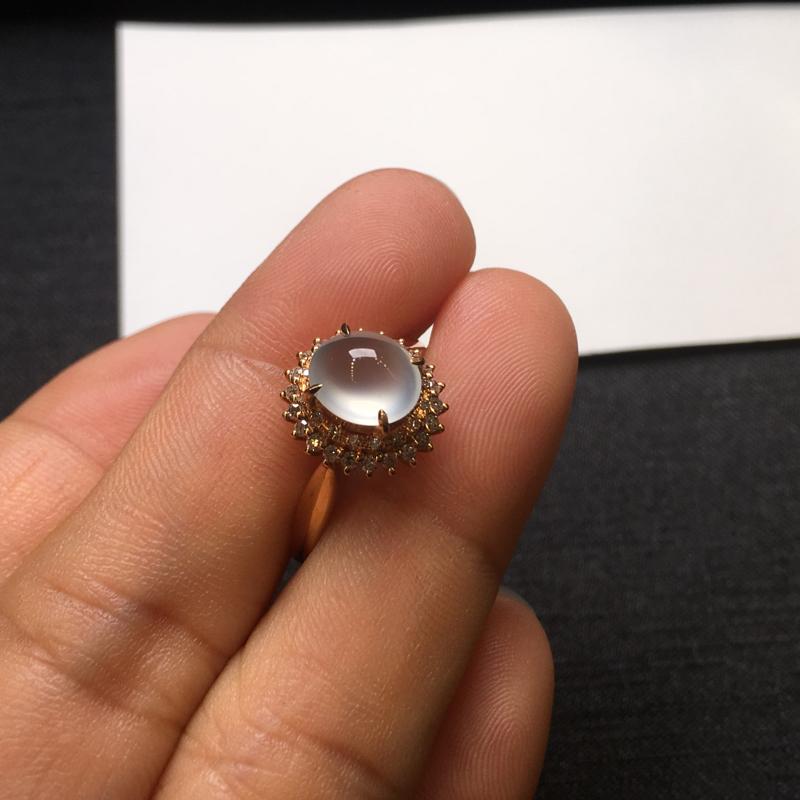 【18K金钻石镶嵌高冰种戒指,实物完美起光,裸石尺寸:7.6*6.5*3.5mm,整体尺寸:10.8*11.6*9.3mm,指圈12.5(下单前请先咨询)】图5