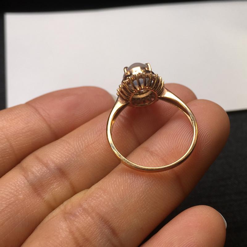 【18K金钻石镶嵌高冰种戒指,实物完美起光,裸石尺寸:7.6*6.5*3.5mm,整体尺寸:10.8*11.6*9.3mm,指圈12.5(下单前请先咨询)】图9