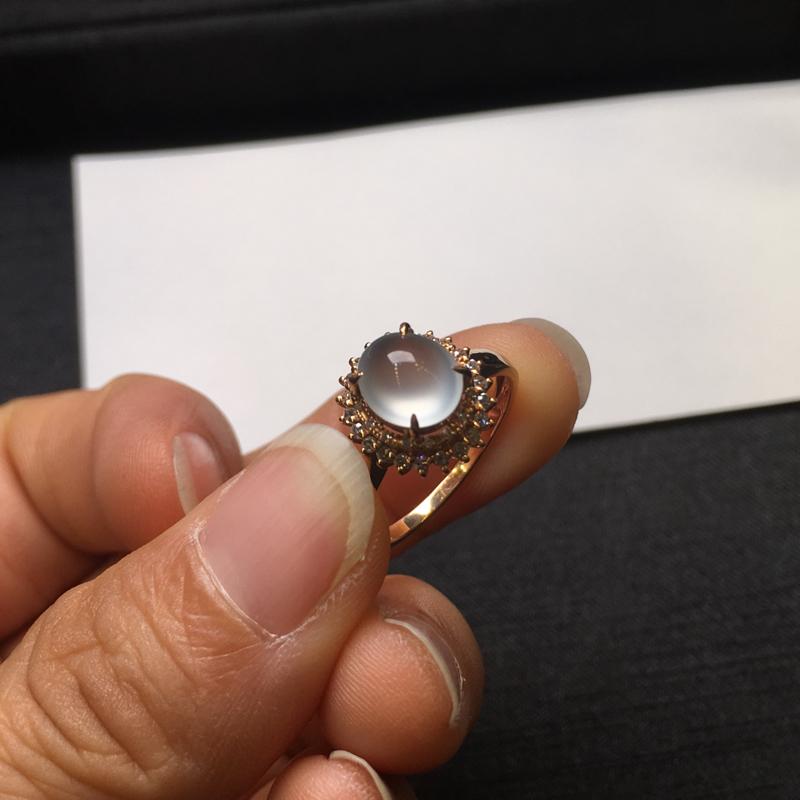 【18K金钻石镶嵌高冰种戒指,实物完美起光,裸石尺寸:7.6*6.5*3.5mm,整体尺寸:10.8*11.6*9.3mm,指圈12.5(下单前请先咨询)】图8