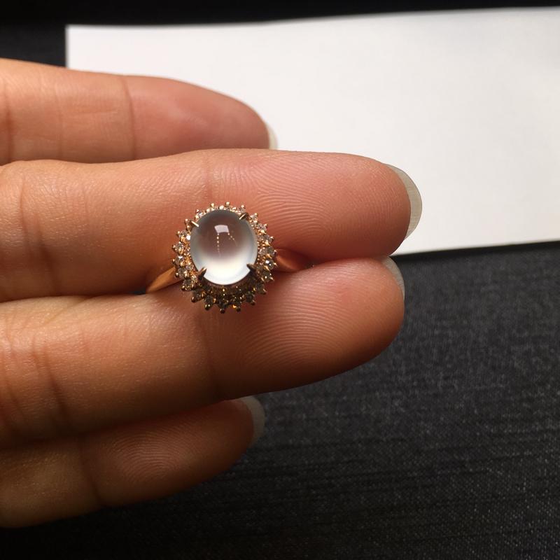 【18K金钻石镶嵌高冰种戒指,实物完美起光,裸石尺寸:7.6*6.5*3.5mm,整体尺寸:10.8*11.6*9.3mm,指圈12.5(下单前请先咨询)】图6