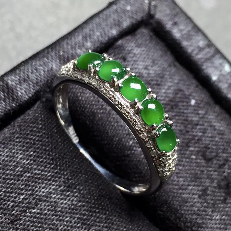 .冰种满绿指圈。完美。水头足。裸石尺寸3.5/3/2##