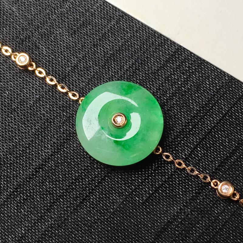 飘绿平安扣手链,18k金镶嵌,颜色清