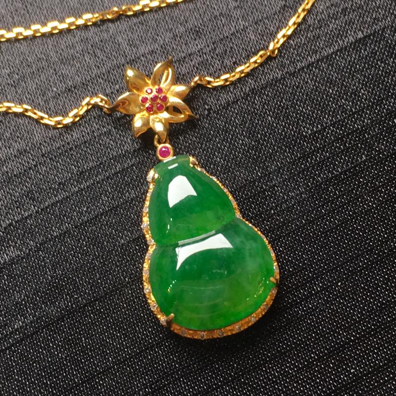 满绿葫芦锁骨链吊坠,18k金镶嵌,颜色