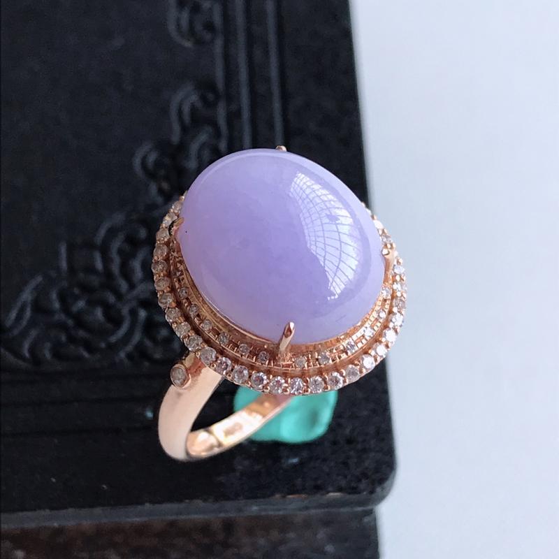 天然翡翠A货18k金伴钻镶嵌紫罗兰蛋面戒指,含金尺寸: 16.8×15.1×11.3mm,裸石尺寸: