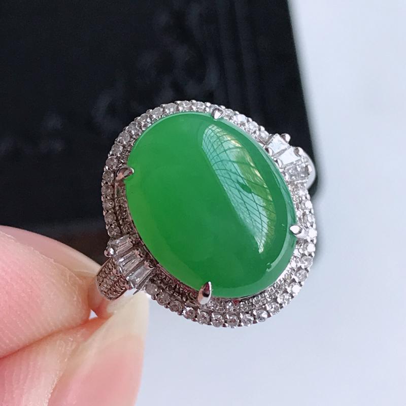 天然翡翠A货18k金伴钻镶嵌阳绿戒指,含金尺寸:17.6×16.4×10.4 mm,裸石尺寸:14.
