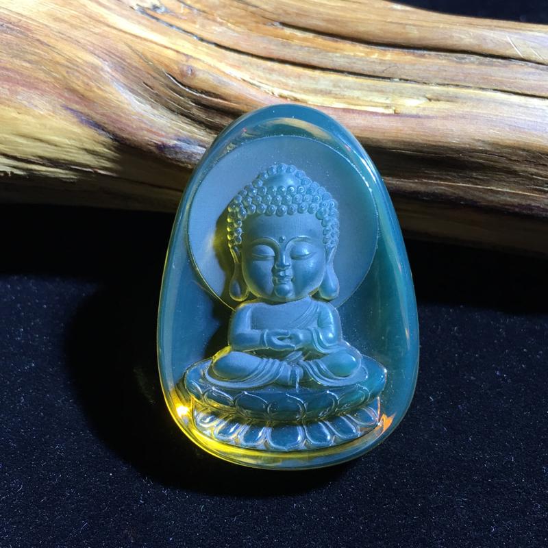 天然美物,墨西哥蓝珀挂件,精美雕工,细致入微,【宝宝佛】,不忘初心,于孩子,保持初心,欢喜纯真,佛祖