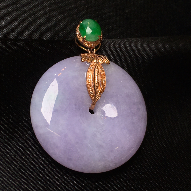 缅甸天然a货翡翠紫罗兰平安扣吊坠,18k伴钻,种水一流,色艳,佩戴精美,性价比高