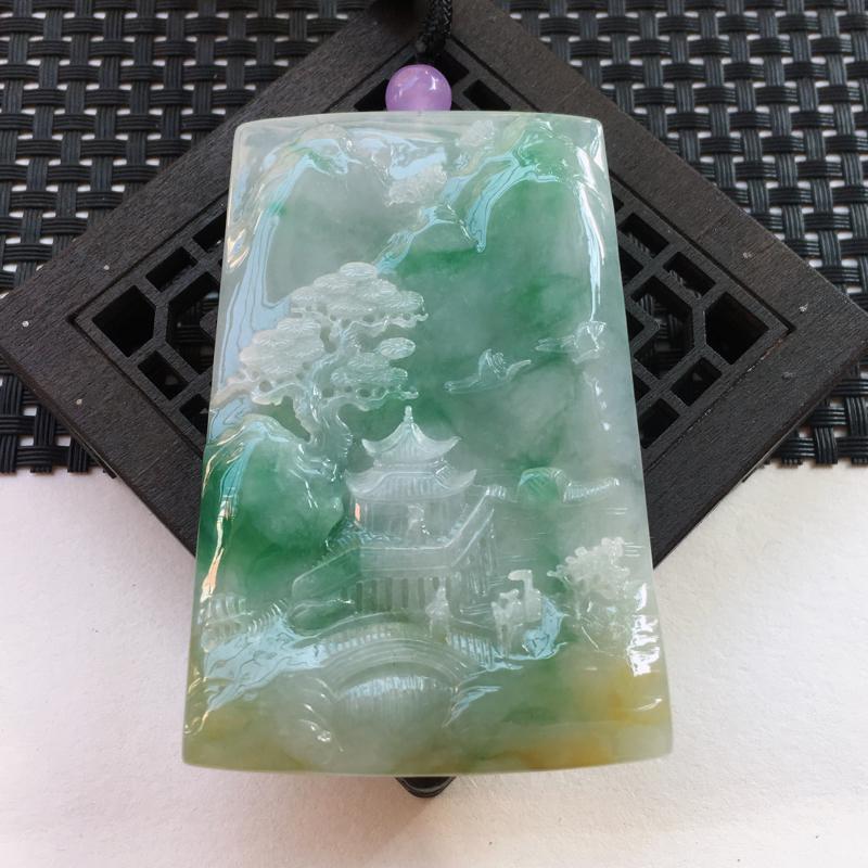 A货翡翠  糯种三彩前程似锦山水牌挂件    尺寸75*48.2*7.3mm  水头好,玉质细腻,雕