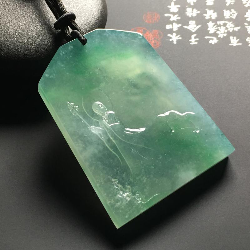 老坑冰种晴绿地藏王菩萨吊坠 尺寸60-45.9-7.6毫米 水润通透 质地细腻 雕工精湛 翠色艳丽