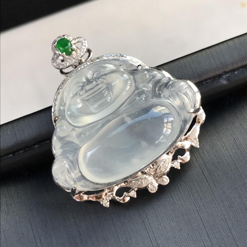 天然翡翠A货,18K金伴钻镶嵌,冰种弥勒佛吊坠,料子细腻,冰透水润,款式精美,性价比高