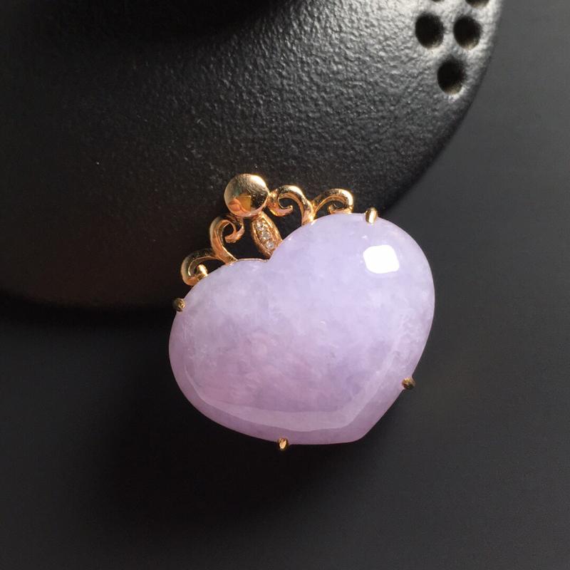 糯种紫罗兰心形吊坠 18K真金带钻镶嵌 整体尺寸25-24-11毫米 裸石尺寸18-23-6毫米 色