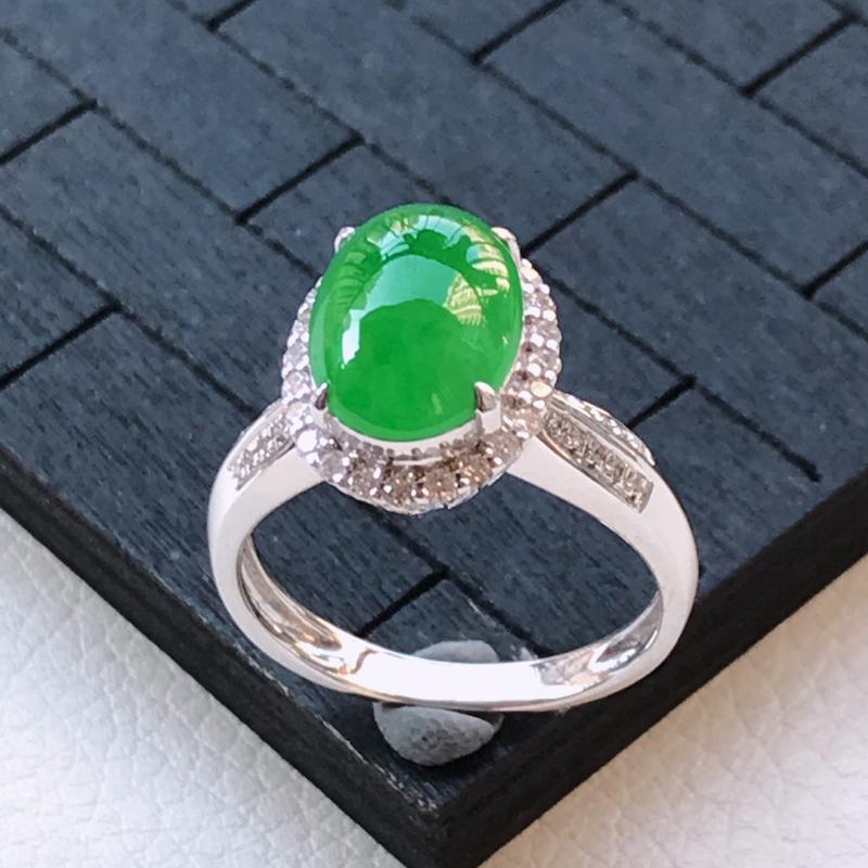 翡翠A货18K金镶嵌满绿蛋面戒指,玉质细腻,底色漂亮,上身高贵,内径16.7/13.5/9.4mm裸