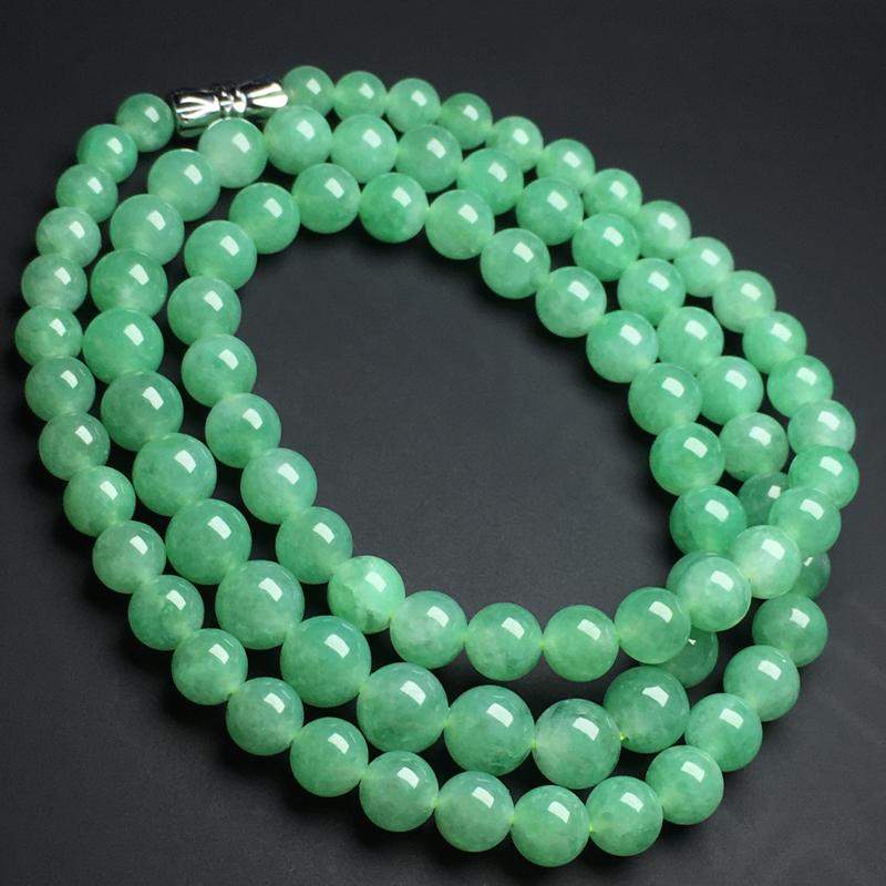 【满色佛珠项链】色泽艳丽  玉质细腻  饱满圆润。 款式新颖  直径7毫米