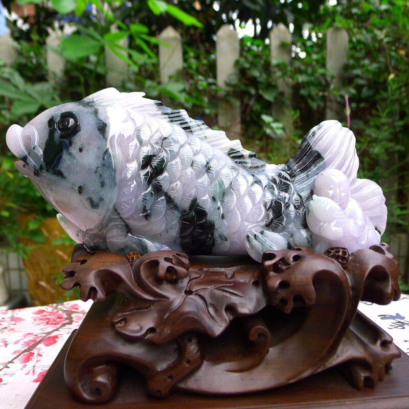 (金玉满堂)天然翡翠A货糯化种翡翠紫罗兰飘花年年有余(锦鲤)摆件  裸石尺寸:100/250/50连