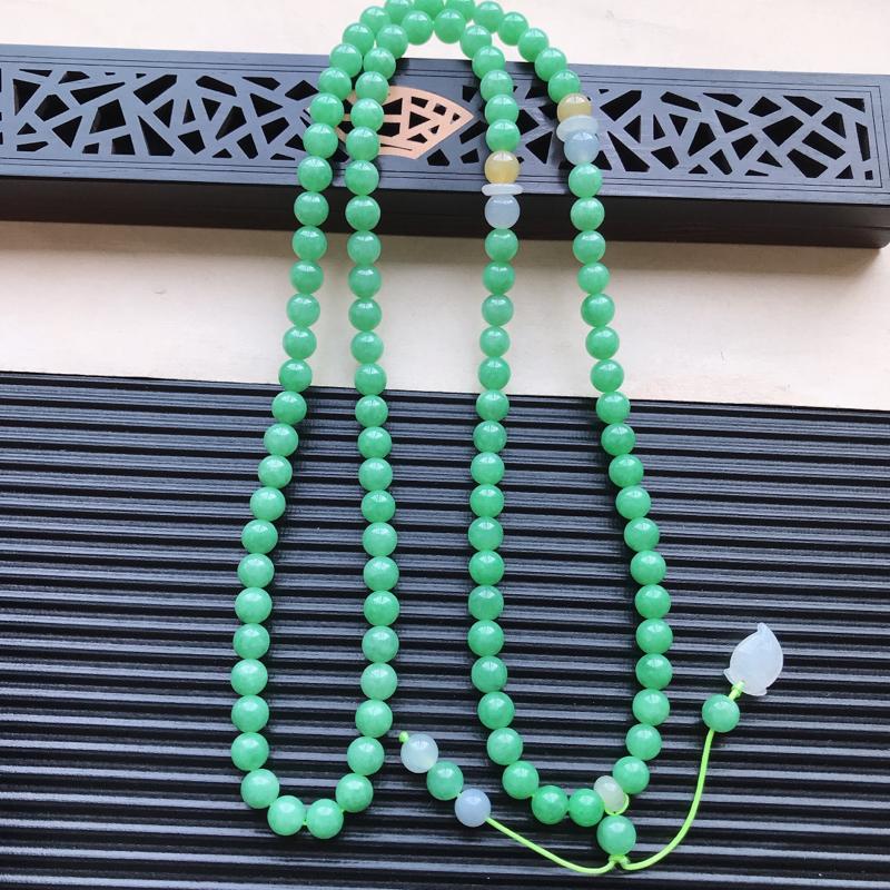 天然翡翠A货细糯种满绿精美圆珠项链,尺寸7.2mm,玉质细腻,种水好