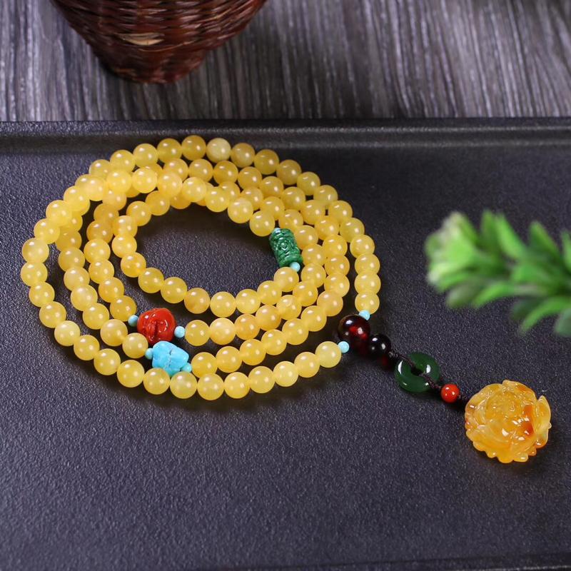 🍃🌺天然无优化蜜蜡约6.6mm108颗,手链项链两用款,精选的蜜蜡珠子,成