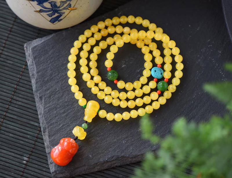 天然无优化蜜蜡约6.8mm108颗,手链项链两用款,精选的蜜蜡珠子,成色很好