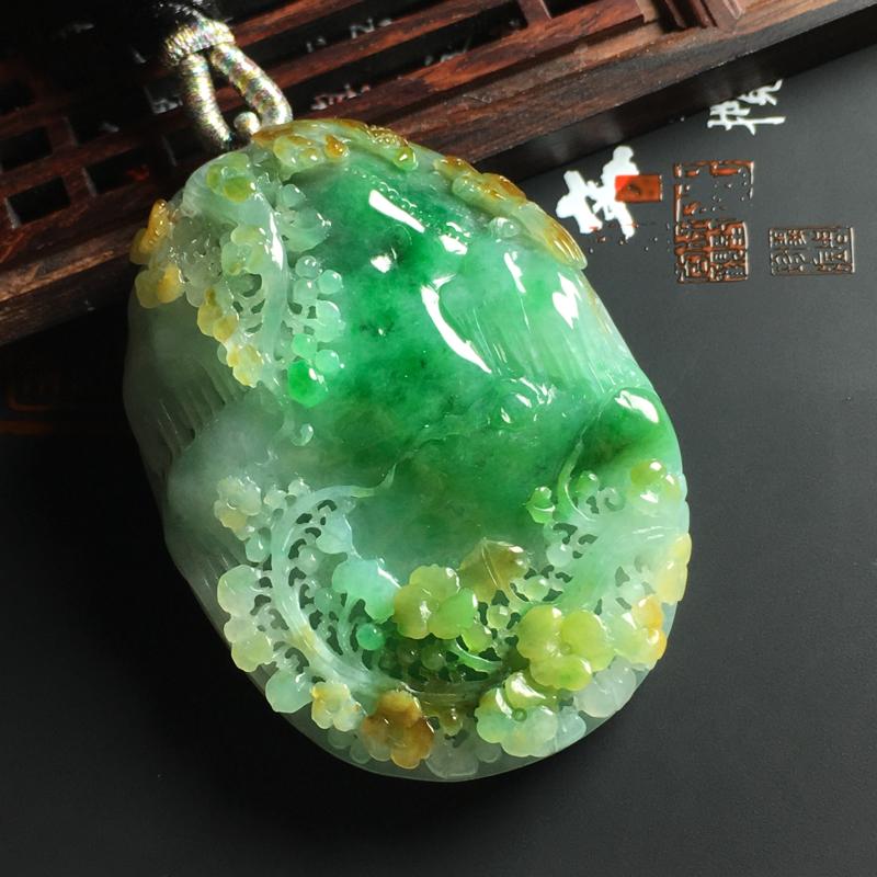 【糯种黄加绿鸟语花香吊坠 尺寸56-42-13毫米 色彩鲜艳 雕工精湛##**】图2