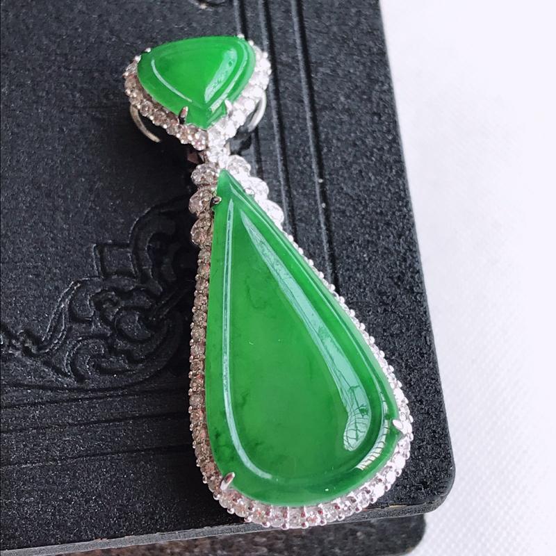 天然翡翠A货18k金伴钻镶嵌飘阳绿水滴吊坠,含金尺寸:38.1×15.3×7.8mm,裸石尺寸:25