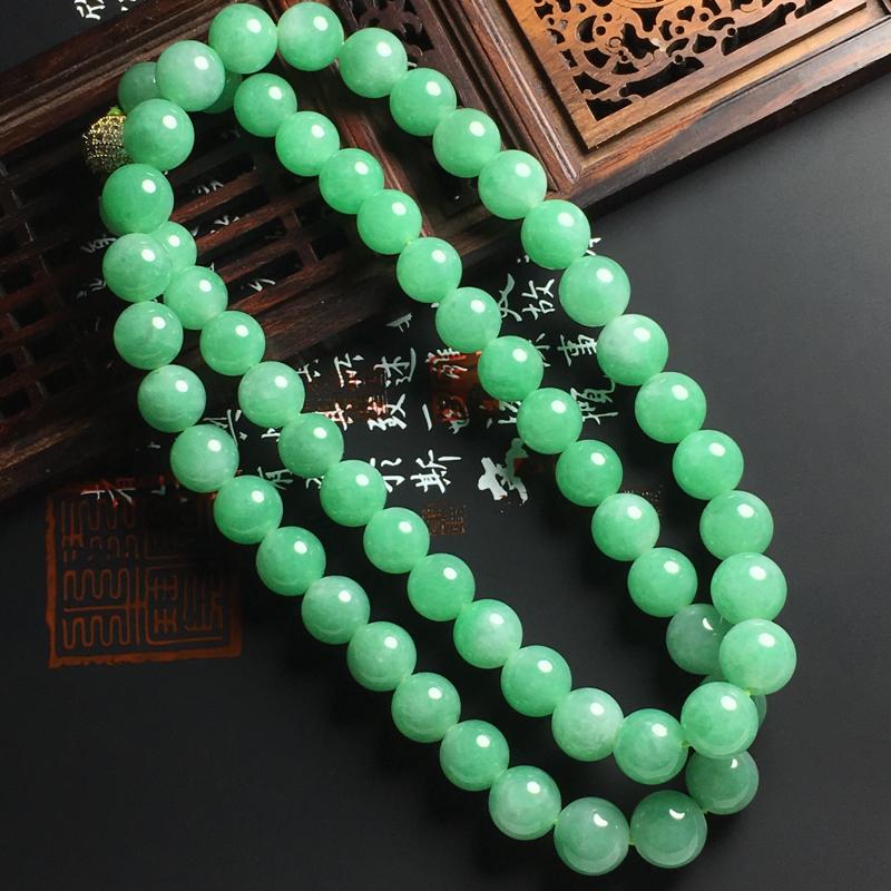 细糯种满色佛珠项链 尺寸9毫米 玉质水润 色彩亮丽