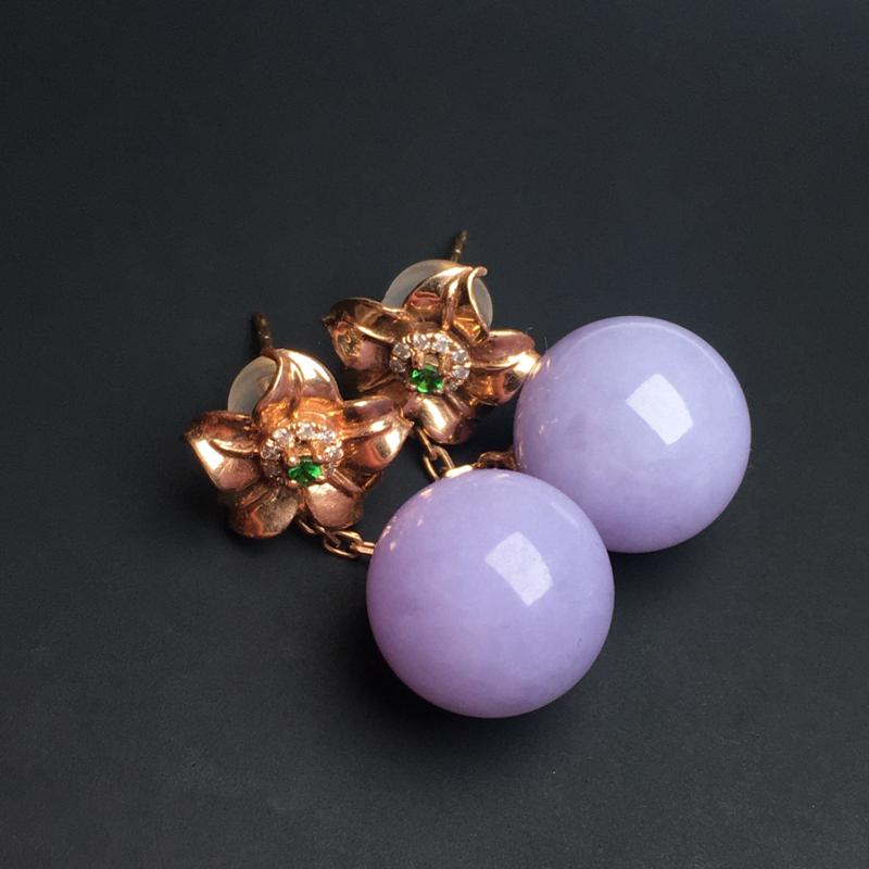 【紫罗兰佛珠耳坠】色泽艳丽  玉质细腻  饱满圆润  款式精美  直径11毫米
