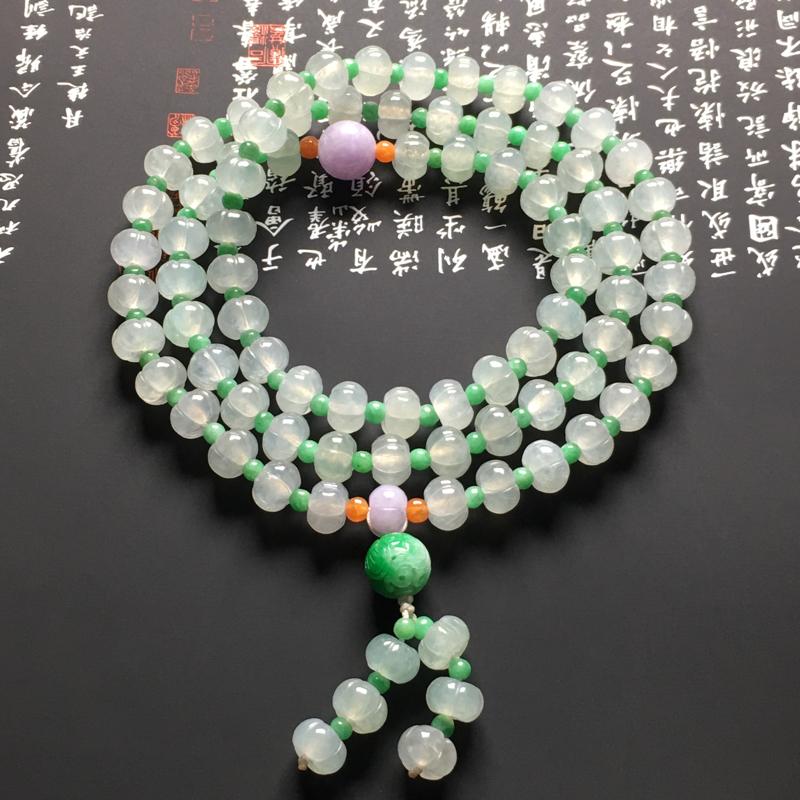 冰种莲花珠链 共85颗 尺寸9-5.8毫米 水润通透 质地细腻 款式新颖