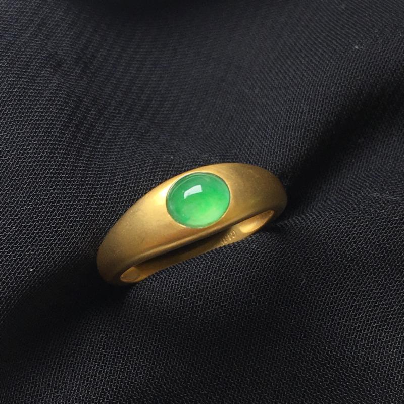 翡翠a货,满绿蛋面戒指💍,18k金镶嵌,种水