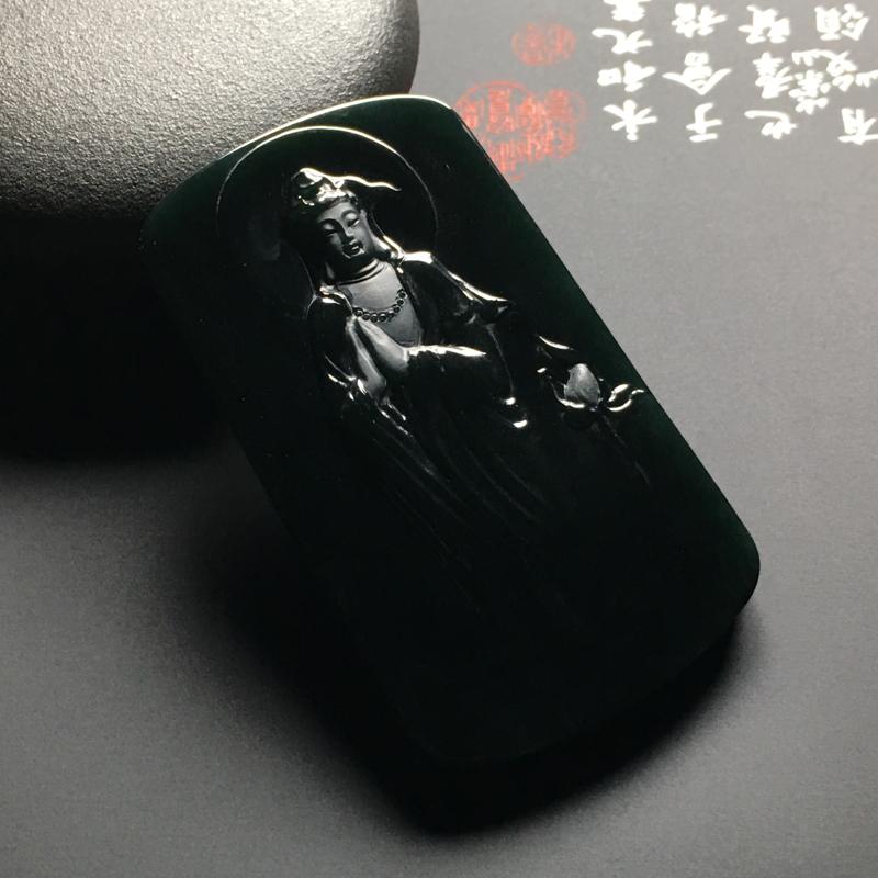 冰种墨翠观音吊坠 尺寸59-34.7-6毫米 黑度佳 雕工精湛 打灯通透 翠色艳丽 质地细腻 瑞丽工