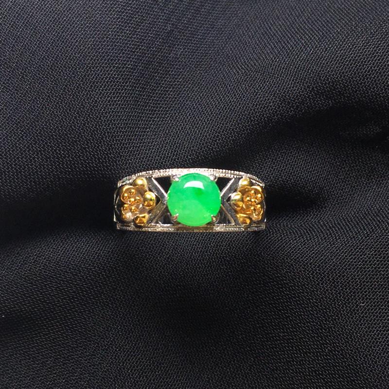 翡翠a货,满绿蛋面戒指💍,18k金伴钻,