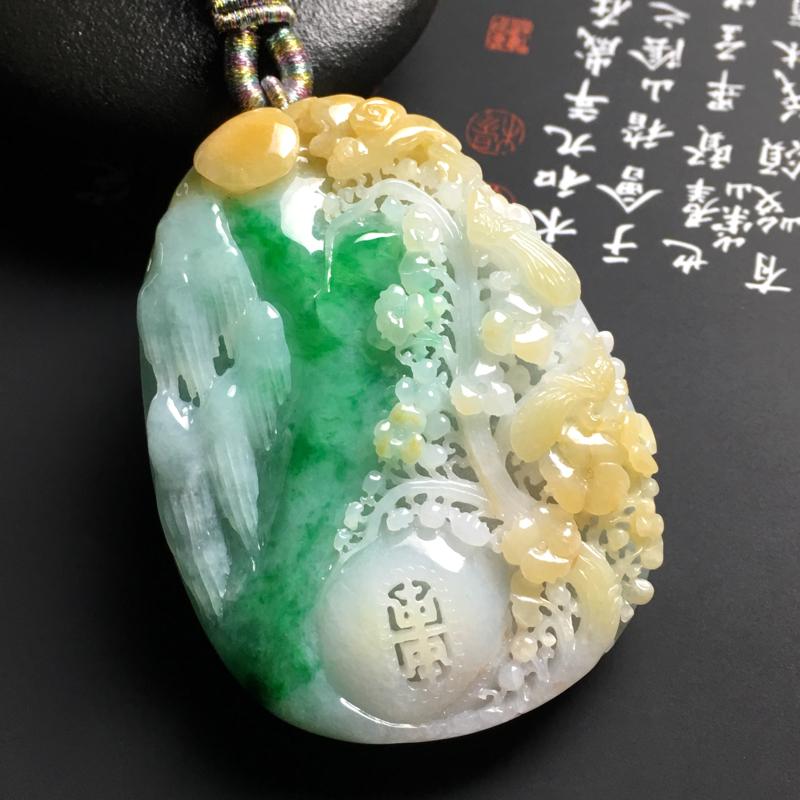 糯种黄加绿鸟语花香吊坠 尺寸60.5-45-12毫米 色泽艳丽 雕工精美