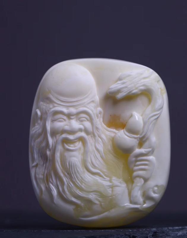 大师收藏级作品白花蜡【老寿星】 名家雕刻  柴秀文作品  人物形象立体  细节刻画详实  蜡质瓷实