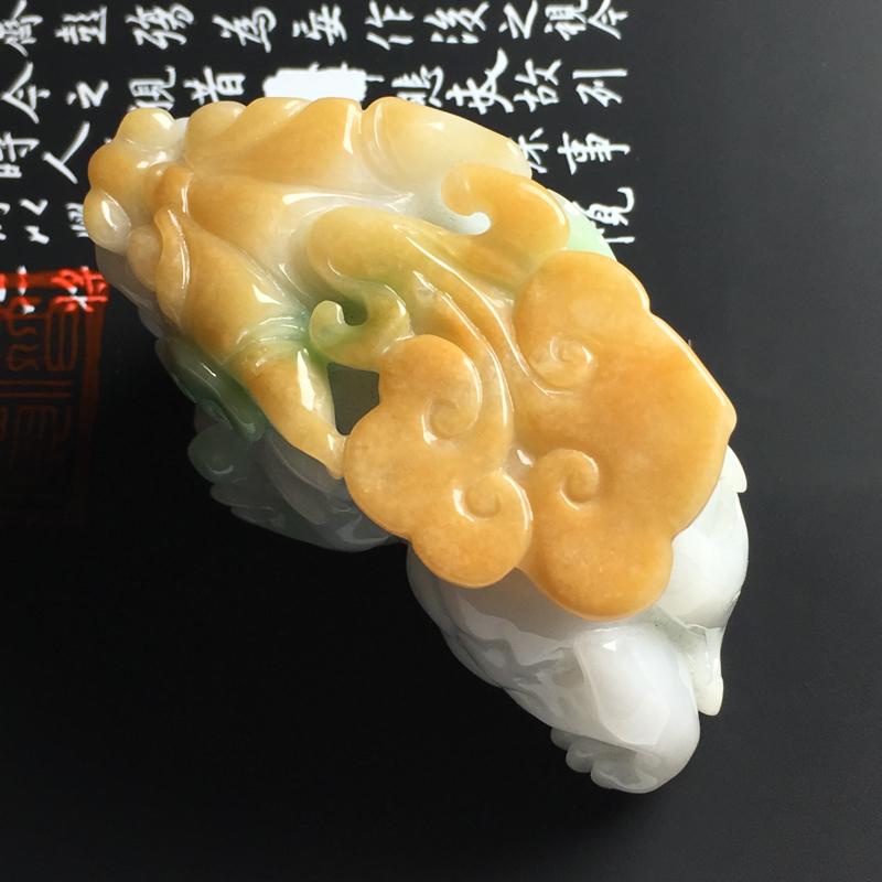 糯种黄加绿貔貅手把件 尺寸67-36-28毫米 色泽艳丽 玉质细腻 雕工精湛 饱满厚庄