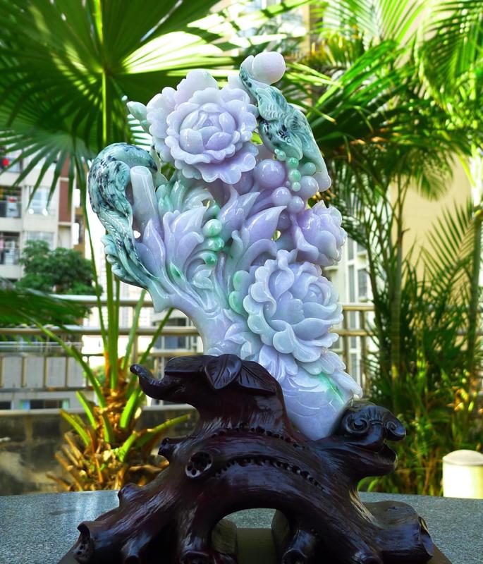 精美 花开富贵摆件,缅甸天然A货翡 精美 春带彩 花开富贵 喜上眉梢 好事成双 花摆件 雕刻精美线条