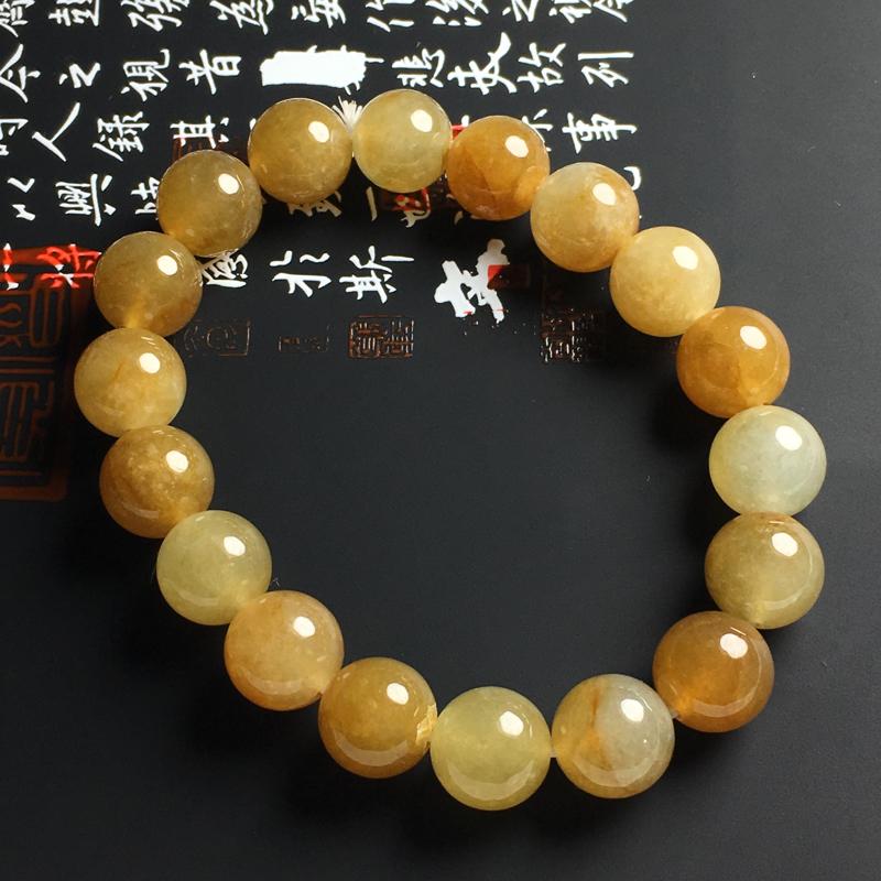 糯化种黄翡佛珠手串 佛珠尺寸10毫米 玉质水润 色彩亮丽