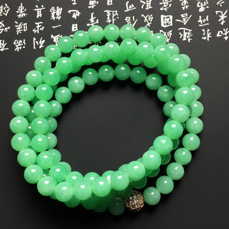 糯化种满绿珠链 108颗 直径6.5毫米 水润通透 翠色阳绿
