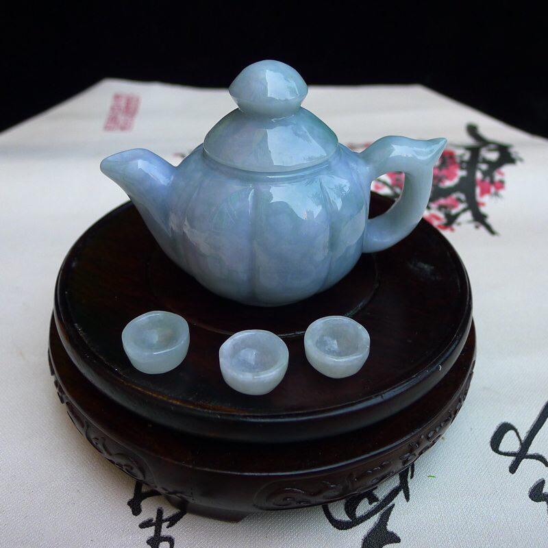 翡翠老坑水润浅蓝紫蓝瓜小茶壶一套 小摆件 茶壶尺寸63.8*93*55mm 单个小杯尺寸16.2*8