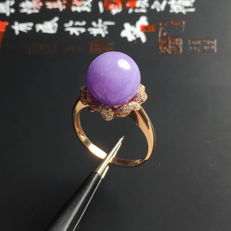 细糯种紫罗兰精美佛珠戒指 18K真金真钻镶嵌 内径17毫米 直径10毫米 色泽